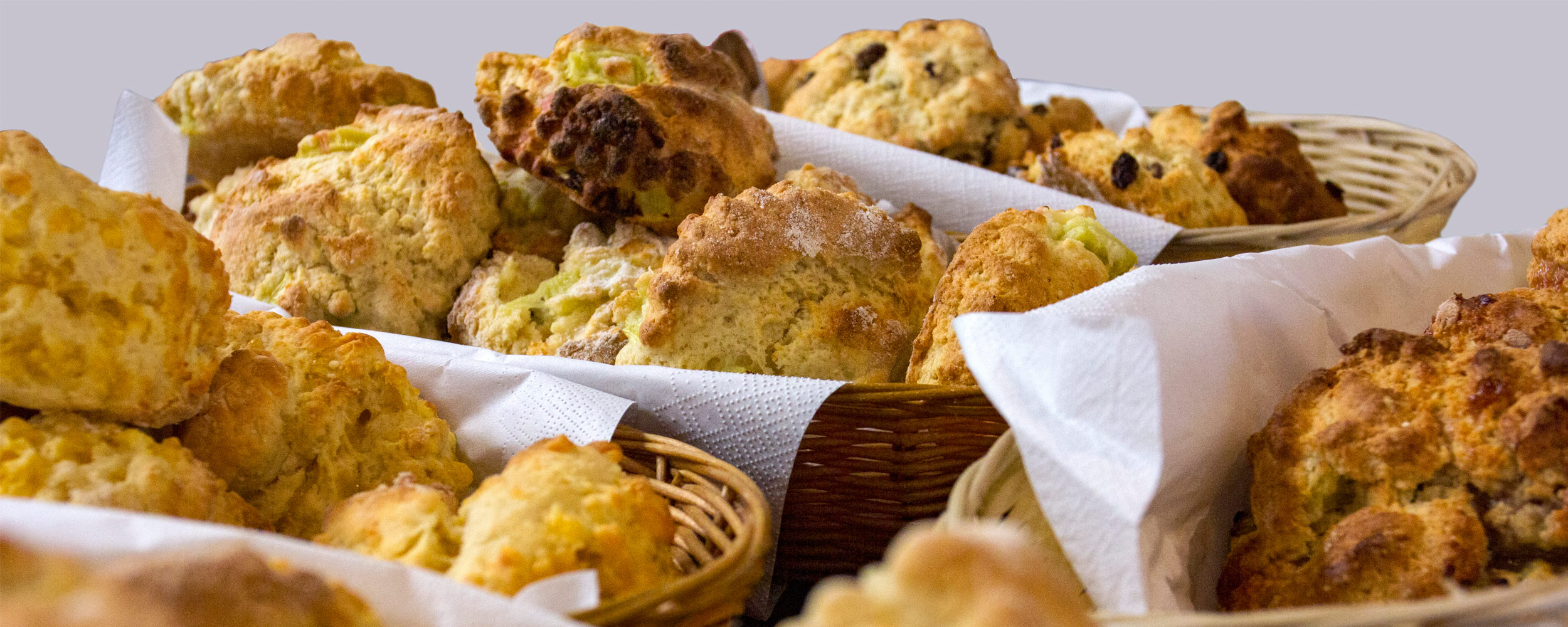 Scones in baskets