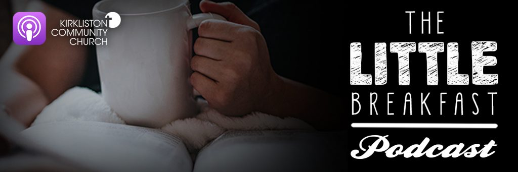 Cup, bible, Little Breakfast Podcast logo