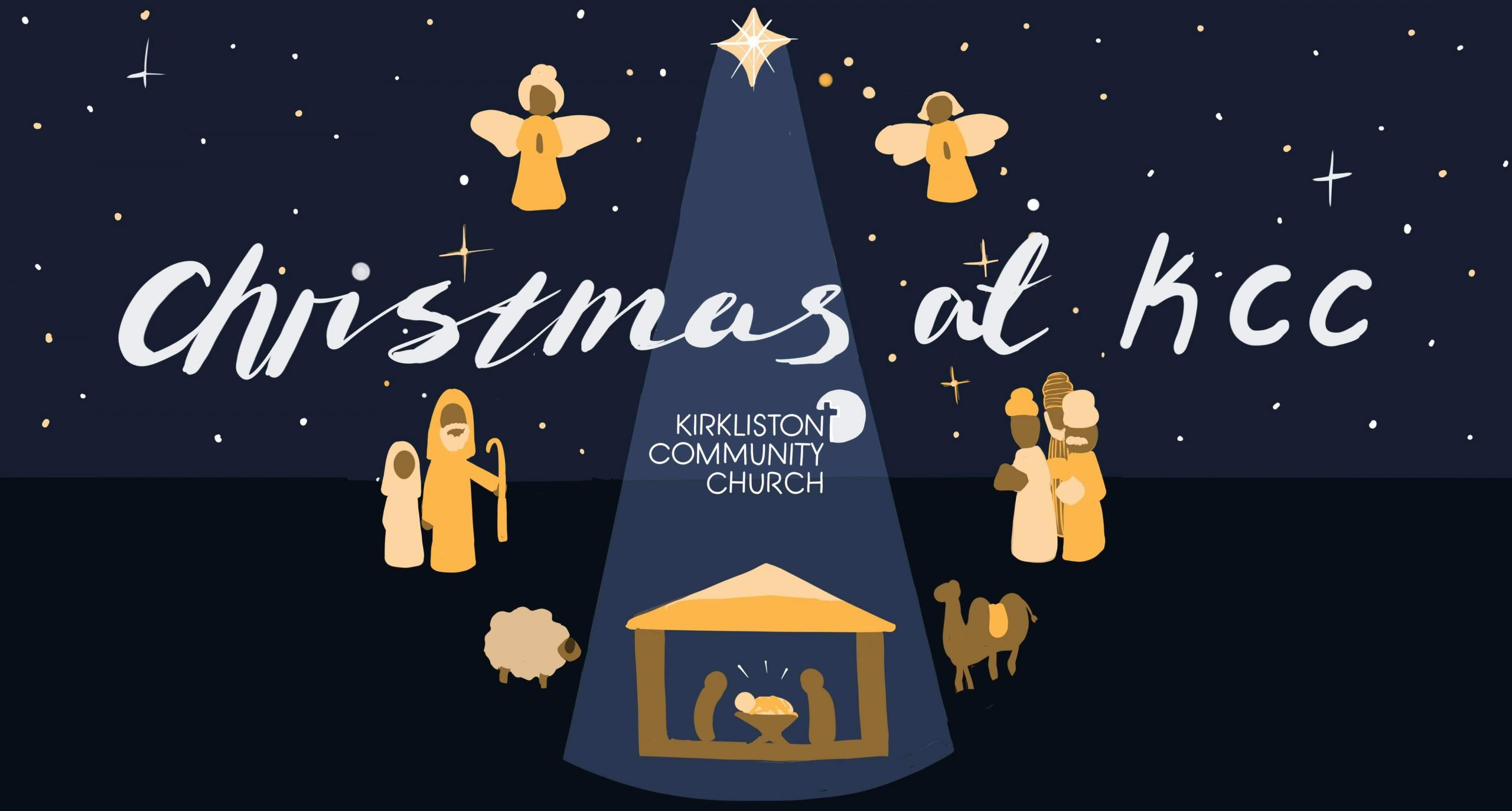 Christmas at KCC artwork including angels, a stable, shepherds, Mary, Joseph and baby Jesus.
